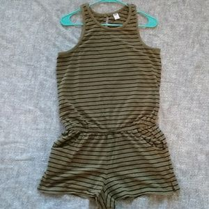 Tan & Black Striped Shorts Onesie